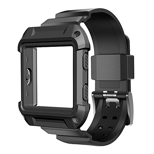 Blaze Accessory, UMTELE [Rugged Pro] Resilient Protective Case with Strap Bands for Blaze Smart Fitness Watch (Black)