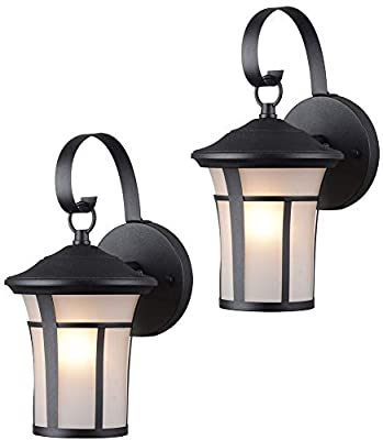 Hardware House 21-2687 & 22-9692 Outdoor Patio / Porch Wall Mount Exterior Lighting Lantern Fixtures with Frosted Glass - Twin Pack