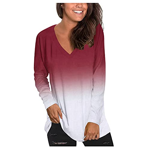 YAOBF Damen Langärmliger Pullover Sexy V-Ausschnitt Loose Strickpulli Oversized Warm Sweater Biene Maja Langarmshirt (Rot 1,XL)