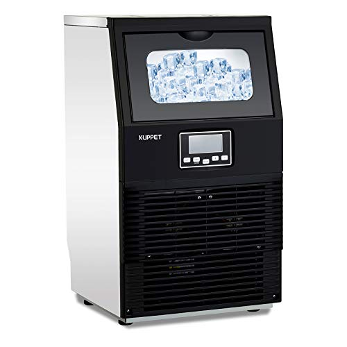 KUPPET Commercial Ice Machine, Freestanding Automatic Portable Ice Cube Machine, for Restaurants/Bars/Homes/Offices, 88 LBS/24H, Stainless Steel