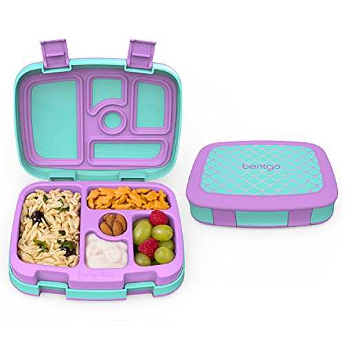 Bentgo Kids Prints (Mermaid Scales) - Leak-Proof, 5-Compartment Bento-Style Kids Lunch Box – Ideal Portion Sizes for Ages 3 to 7 – BPA-Free and Food-Safe Materials