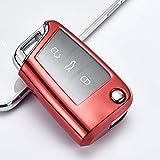 UNJ Für PC + TPU Auto Schlüsselhülle Abdeckschale Für Volkswagen Vw Passat Golf 7 Polaris Tiguan L Sitz Ibiza Leon FR 2 Altea Aztec Skoda Octavia,B-Rot