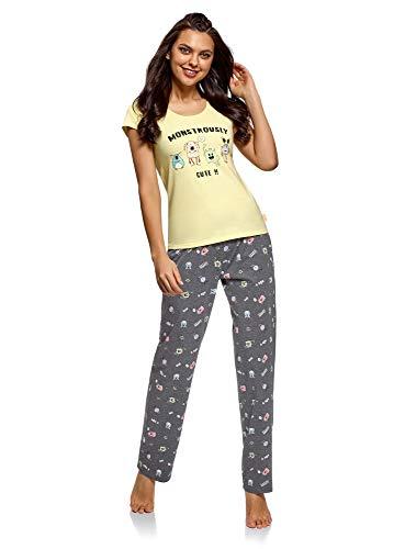 oodji Ultra Damen Baumwoll-Schlafanzug mit Pyjama-Hose, Gelb, DE 36 / EU 38 / S