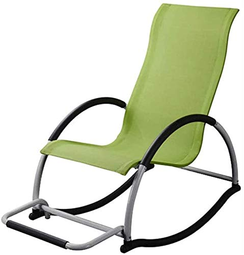 Recliner chair Garden Portable Rocking Chair,Camping Travel Sun Lounger Chair, Simple Modern Leisure Home Rocking Chair (Color : Green)