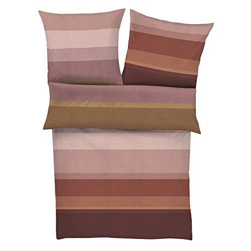 BUGATTI Satin-Flanell Bettwäsche 135x200 cm - Ganzjahresbettwäsche rost rosa Baumwolle, 2 TLG. Set, praktischer Reißverschluss