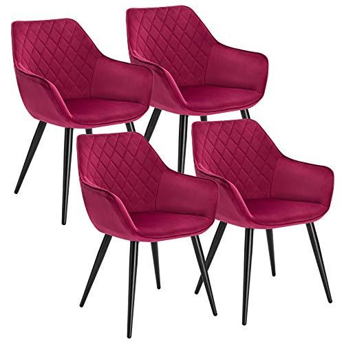 WOLTU Esszimmerstühle BH153bd-4 4er Set Küchenstühle Wohnzimmerstuhl Polsterstuhl Design Stuhl mit Armlehne Bordeaux Gestell aus Stahl Samt