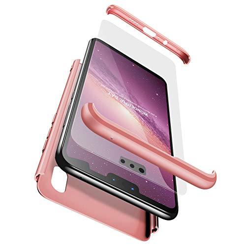BESTCASESKIN Funda Compatible con Xiaomi Mi Mix 2S, Carcasa Móvil de Protección de 360° 3 en 1 Desmontable con HD Protector de Pantalla Caso Case Cover [Anti Huellas Dactilares] Rose Oro