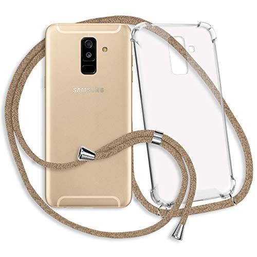 mtb more energy® Collar Smartphone para Samsung Galaxy A6 Plus, A6+ (SM-A605, 6.0'') / J8 2018 (SM-J810, 6.0'') - Beige - Funda Protectora ponible - Carcasa Anti Shock con Cuerda