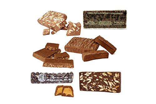 Lote Chocolatero de 7 Turrones y Peladillas de Chocolate. 1,5 KG. – Turrones Fabián - Pack de Turrón (2 x 300 G + 3 x 200 G + 2 x 150 G) - Selección de turrones de Chocolate artesanos: Turrón de Chocolate con Almendras (2x), Bombones de Chocolate rellenos de Turrón de Jijona, Chocolate Crujiente, Turrón de Chocolate Trufado, Turrón de Chocolate al Whisky, Peladillas de Chocolate (almendras cubiertas de chocolate) - Elaborado y Enviado desde Jijona, Alicante.