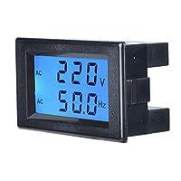 2線式電圧計電流高感度AC標準低消費電力電圧LCDスクリーン産業用自動車用デジタル周波数(AC150-500V black shell)