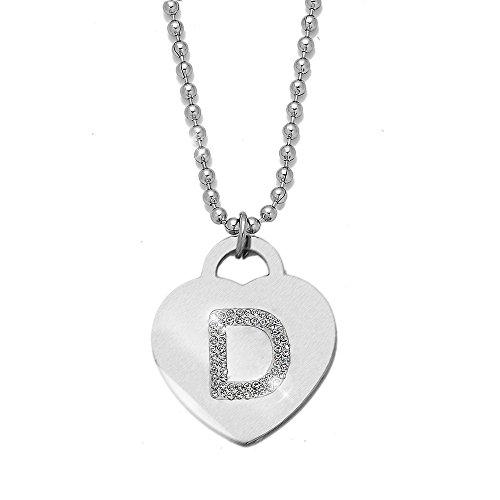 Collana con ciondolo da donna in acciaio con cristalli con lettera iniziale - pendente a forma di cuore con lettera dell'alfabeto - collana con catenina lunga 90 cm - argento e cristalli (D)