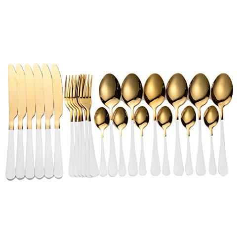 cubiertos Set de cubiertos Conjunto de vajillas de 24 piezas Caja de cubiertos de acero inoxidable Cuchillos Cuchillos Cucharas Cocina Cocina Juego Juego cuberteria (Color : White gold 24 pcs)