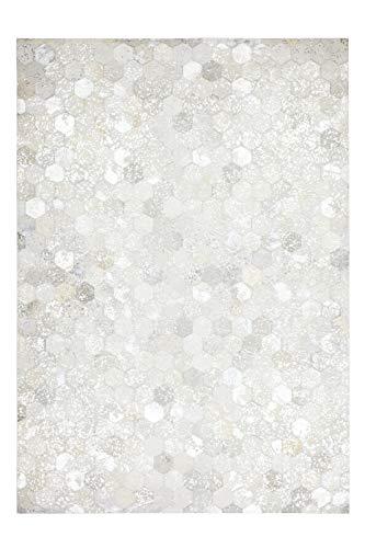 Fabelia Lederteppich Hexagon Grau/Silber (80 x 150 cm)