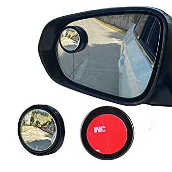 LivTee 2PCS Round Blind Spot Mirror HD Glass and ABS Housing Convex Wide Angle Rearview Mirror with Adjustable Stick for Universal Car Black