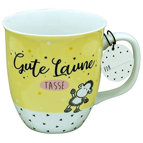 Sheepworld 46457 Gute Laune, Porzellan, 40 cl, mit Geschenk-Anhänger, Gelb Tasse