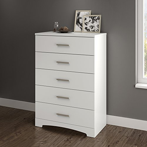 South Shore Gramercy 5-Drawer Dresser, Pure White with Brushed Nickel Handles