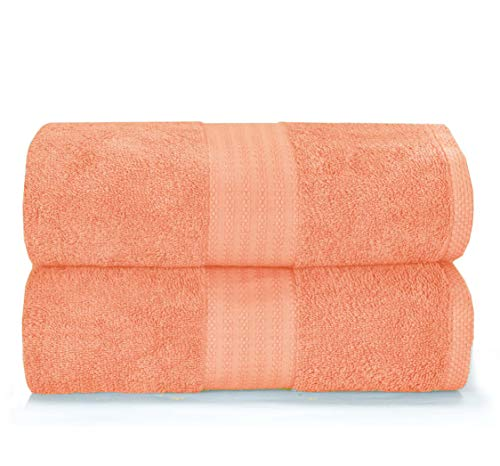 GLAMBURG Premium Cotton Oversized 2 Pack Bath Sheet 35x70-100% Pure Cotton - Ideal for Everyday use - Ultra Soft & Highly Absorbent - Machine Washable - Peach