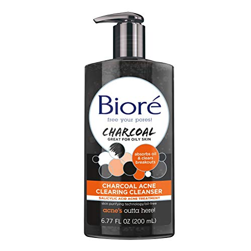 Bioré Charcoal Acne Clearing Face Wash, 6.77 Ounce, 1% Salicylic Acid Acne Treatment, Helps Prevent Breakouts, Oil Absorption and Control for Acne Prone, Oily Skin