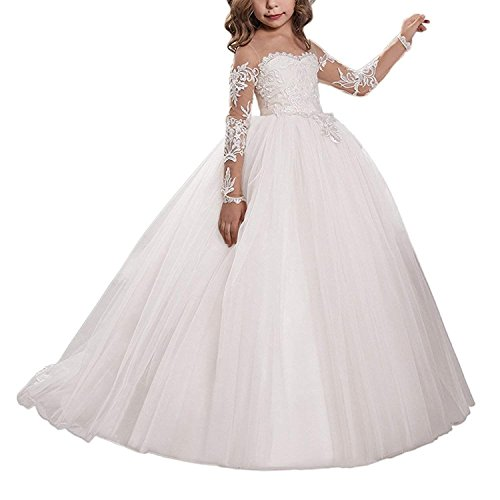 Abaowedding Lace Embroidery Sheer Long Sleeves Kids Trailing Gowns Size 12,Ivory