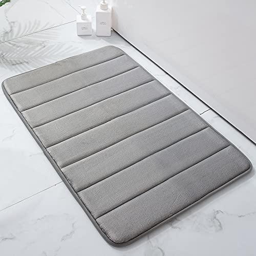 Colorxy Badvorleger aus Memory-Schaum, weich und bequem, rutschfest, wasserabsorbierend, für Küche, Badezimmer, Boden, 50,8 x 81,3 cm, Grau