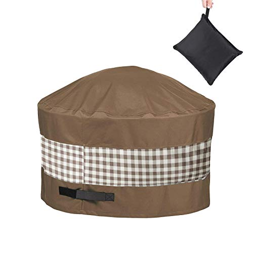 Round Fire Pit Cover With Adjustable Self-adhesive 32'/36'/44'/50'Waterproof 600D Heavy Duty Patio Fire Bowl Cover, Protective Fire Pit Accessory For Outdoor Patio Firepit Table
