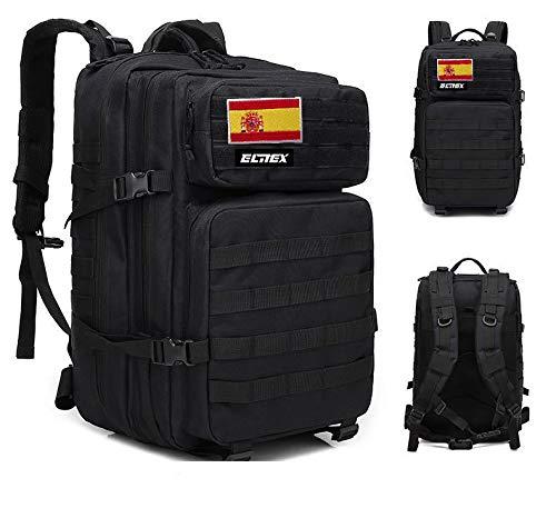 ELITEX Mochila 45L Táctica Militar Bandera España Impermeable para Crossfit Caza Aire Libre Deportes Gimnasio Portatil (Negro)