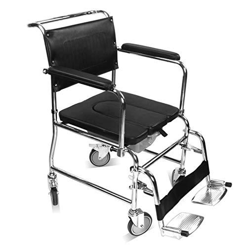 SUYUDD Toilettenstuhl Mit Rollen Auch Zum Duschen, Rollstuhl für ältere Menschen, Behinderte, Behinderte, Badezimmerhilfe für Mobilität und Komfort, hygienisch und langlebig