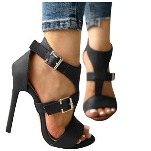 VESNIBA Damen Pumps Offen Stilettos High Heels mit Elegantem Stiletto Mary Janes Schuhe Spangen pumps