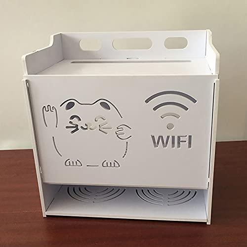 JYMEI WiFi Router Shelf,PVC Set-Top Box,Wireless WiFi Storage Box,Cajas De Almacenamiento para Router Inalámbrico,Estante Flotante De Almacenamiento Panel de Conexión(2 Estilos,4 tamaños)