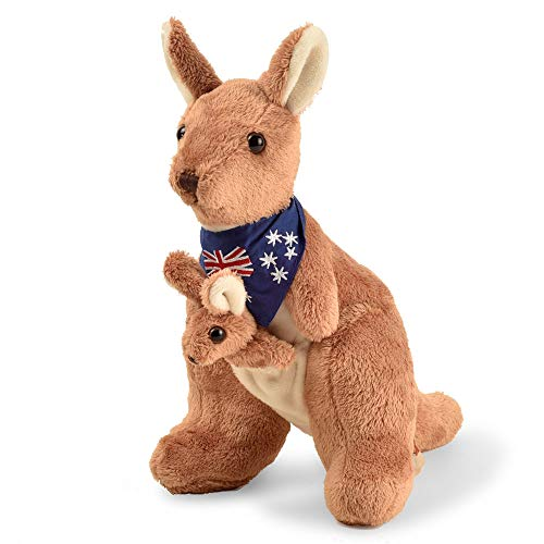 BOHS Plush Red Kangaroo with Australia Scarf and Detachable Joey - Huggable Soft Stuffed Mom and Baby Animals Toy- 11 Inches