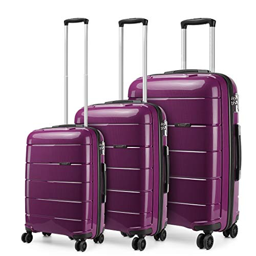Kono Moda Hard Shell Equipaje Ligero 4 Ruedas giratorias Maleta TSA Lock Business Trolley Case (Púrpura, Set)