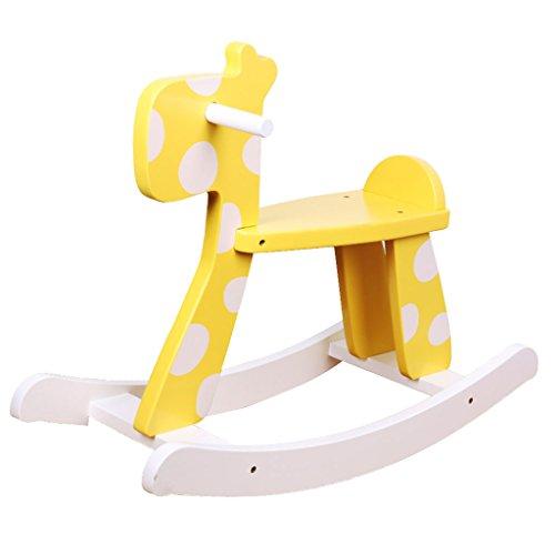 Cheval à bascule simple Assemblée solide bois chaise berçante pour 1-5 ans bébé enfant jouet cadeau -LI JING SHOP (Couleur : Le jaune)