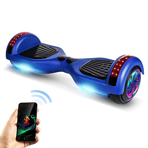 """SISIGAD SISGAD Hoverboard 6.5"""" Self Balancing Hoverboard UL 2272 Certified Two-Wheel Self Balancing Electric Scooter with Flash Wheel Top LED Light-Black(Free Bag)"""