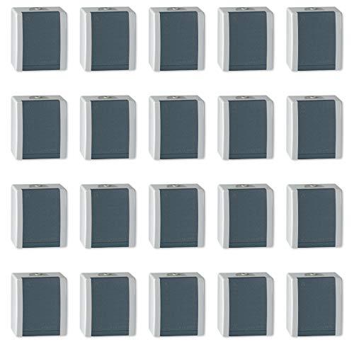 ALING-CONEL | 1-fach Steckdose mit Klappdeckel für Feuchtraum | Aufputz Schutzkontakt - Grau | 16A/250V~ | IP44 | Serie: Power Line | Art.-Nr. PL004-2411.1A (20er Set)