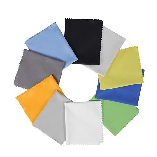 """10 Pack Assorted Colors Microfiber Cleaning Cloths - 6"""" x 7"""" Microfiber Glasses Cloth - Great for Cleaning Eyeglasses, Cell Phones, Screens, Lenses, Glasses, Screens, and All Delicate Surface"""
