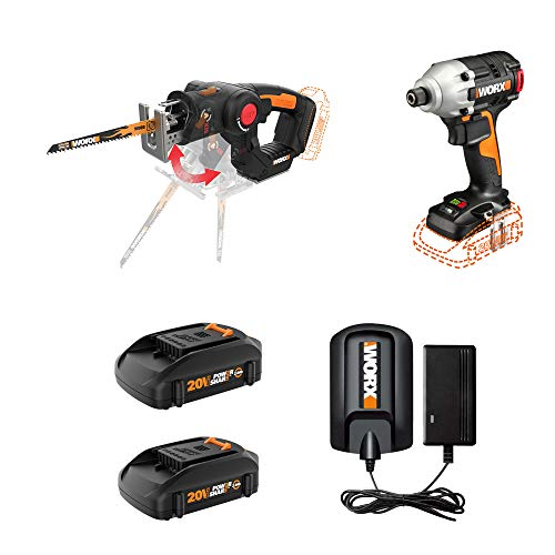 WORX WX914L 20 Volt Combo Power Tool Kit with 1/4 Inch Impact Driver, AXIS Precision Cutting Jigsaw, and 2 Rechargeable Lithium Ion Power Share Batteries