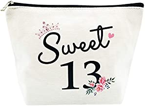 Sweet 13 Gifts for Girls 13th Birthday Gifts Ideas Best Friend Daughter Funny 13 Year Old Girls Sweet Thirteen Gifts for Teen Girls Cute Makeup Bag Celebrate Turning Thirteen