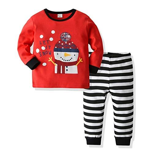 Ensemble de Pyjamas de Noël pour Enfants garçons Filles Ensemble de Santa Claus Elk imprimé Tops + Pantalon Long à Rayures 2 pièces(Rouge,5-6 Années)