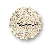 ハンドメイド handmade ギフト ラッピング シール 400枚(8枚/1シート×50シート) (透明に白/レース)