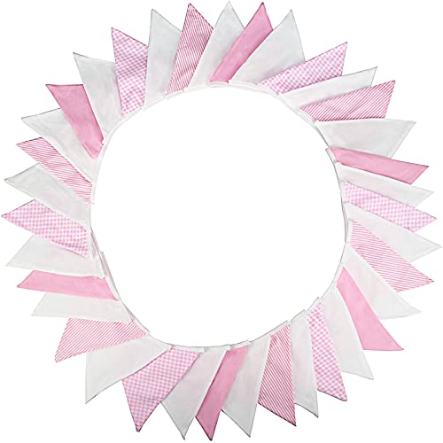 G2PLUS Large Fabric Banner Bunting 10M Pink and White Lovely Pennant Flag Garlands Fabric Triangle Flags Double Sided Vintage Cloth Shabby Chic Decoration for Birthday Parties Ceremonies Kitchen Bedrooms