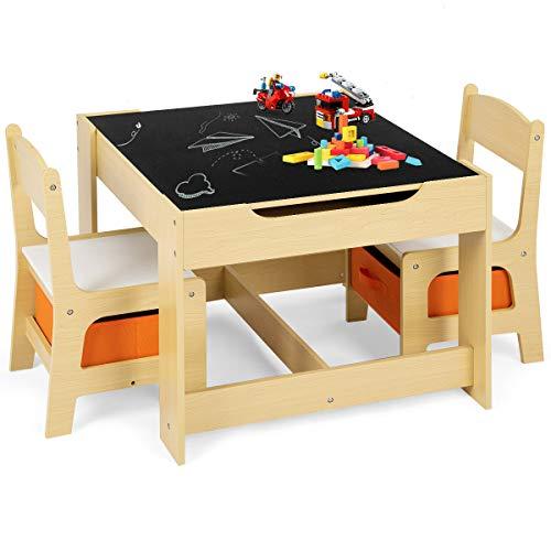 GOPLUS Set Tavolo e 2 Sedie Multifunzione Lavagna per Bambini, in Legno, con Cassetti, Beige