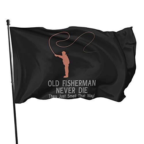 Ancien Fisherman Never Die Flag Bannière drapeaux 3 5 m