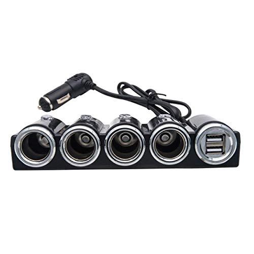 JK-2 - Cargador para mechero de Coche (4 Puertos USB, 12 V/24 V), Color Negro