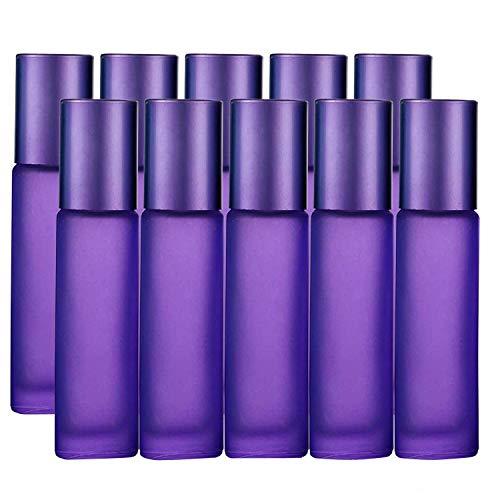 10 Stück, 10 ml ätherische Öle Rollflaschen, JamHooDirect Leere nachfüllbare Bunte Milchglasrolle auf Flaschen mit 1 Öffner und 1 Tropfer, perfekt für Aromatherapie, Duft, Parfüm (lila Farbe)