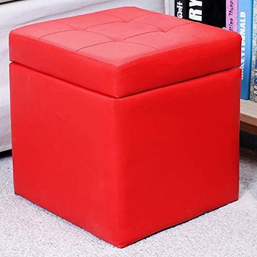 MUZIDP Otomano Pasquillo Taburete Taburete Cube Cube Faux Cuero Ottomanos Almacenamiento Asiento de Banco de Almacenamiento, con bisagra Top Organizador Caja Cofre Un Solo Asiento de Almacenamiento