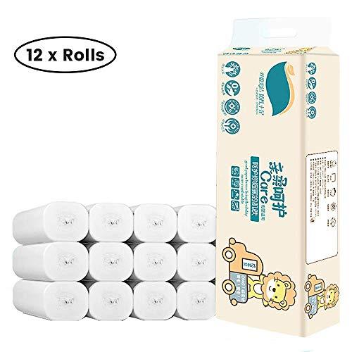 LYB 12 Rollen 4-lagige Toilettenpapierrollen, weich und weich Masse Toilettenpapierrollen geeignet für in der häuslichen Küche Badezimmer Spülung
