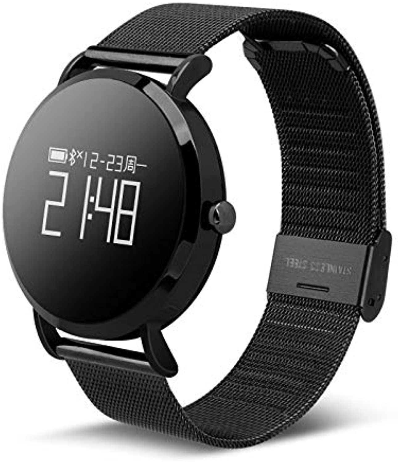 blueeetooth Smartwatch, Fitness Tracker Watch Activity Tracker with Heart Rate Monitor Pedometer Step Calorie Counter SMS Call Notification Waterproof IP67 for iOS Android,Black