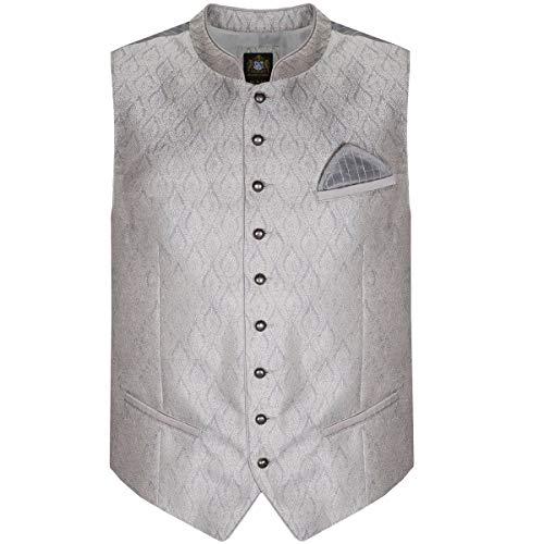 Hammerschmid Herren Trachten-Mode Trachtenweste Oliver in Silber, Größe:52, Farbe:Silber