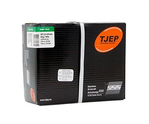 TJEP GR 28/80 D-Kopf Streifennägel 34° Rille Blank, 2,8x80mm Jumbobox