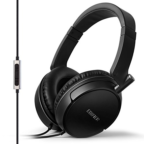 Edifier P841 Computer Headset Comfortable Noise Isolating Over-Ear Headphones With Microphone And Volume Controls - Black